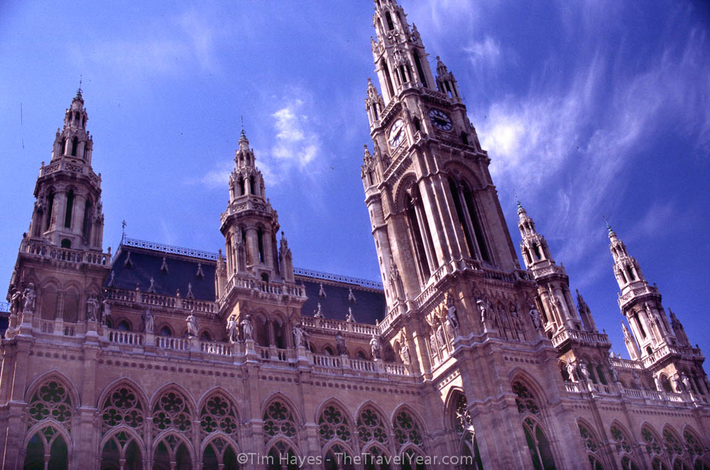 The neo-Gothic city hall building in Vienna speaks of the riches of the old Habsburg dynasty.