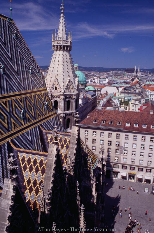 A view from the north tower of Saint Stephan's (Stephansdom), a 13th century Gothic cathedral in the heart of old Vienna.