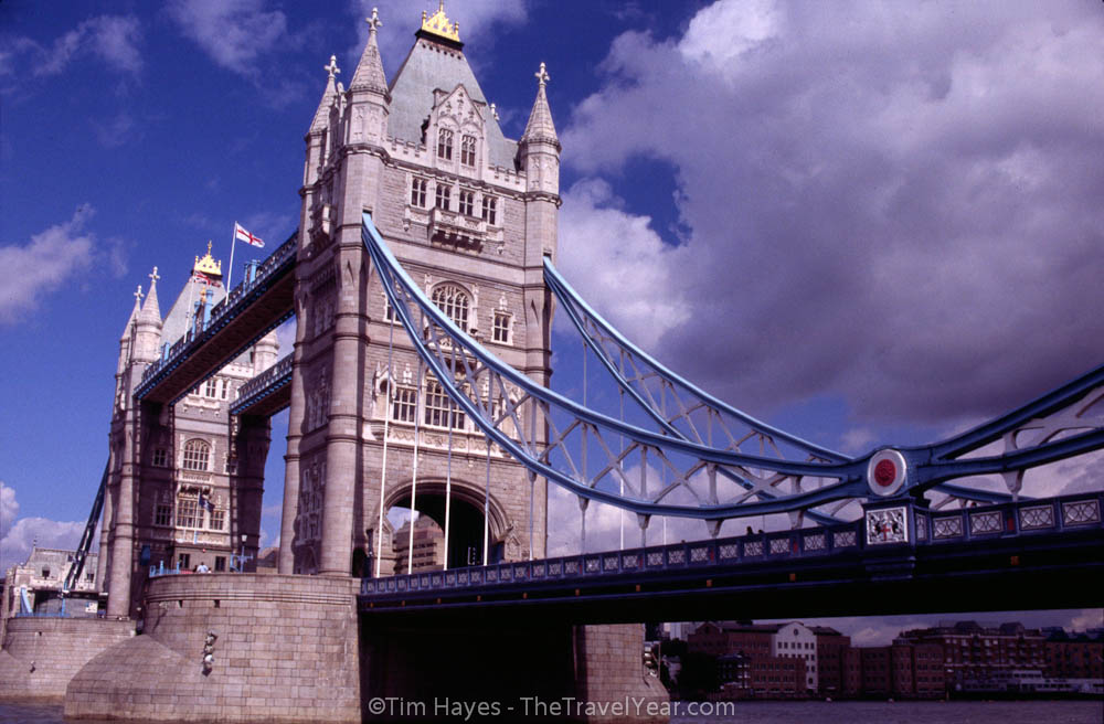 An unusually beautiful blue sky over London's Tower Bridge (built 1894).