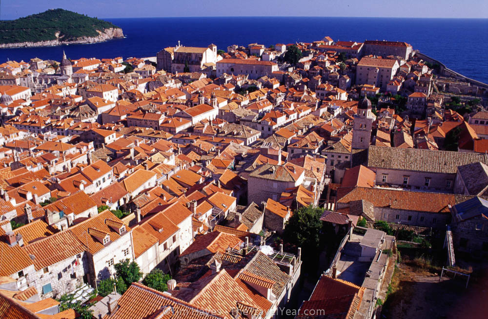 Dubrovnik's old town, surrounded with an impressive 13-16th century wall that is two kilometers in circumference and up to 25 meters high. Up to two-thirds of the red tile roofs in the town were destroyed during the war in Croatia, but the town has since been restored to it's pre-war beauty.