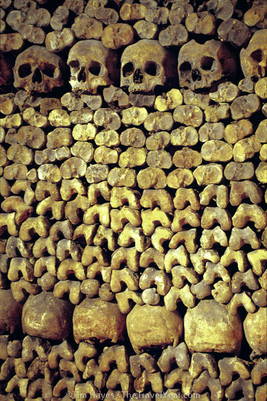 Musty bones in the Paris Catacombes, a spooky subterranean maze of tunnels filled with thousands of exhumed bodies from nearby cemeteries in 1785.