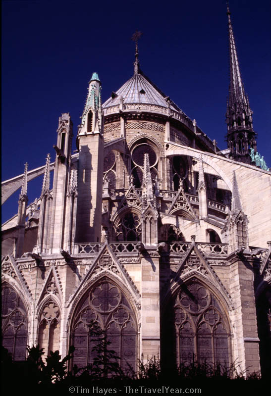 Built between 1163 and 1345, the Gothic Notre Dame cathedral is one of the most famous Paris landmarks.
