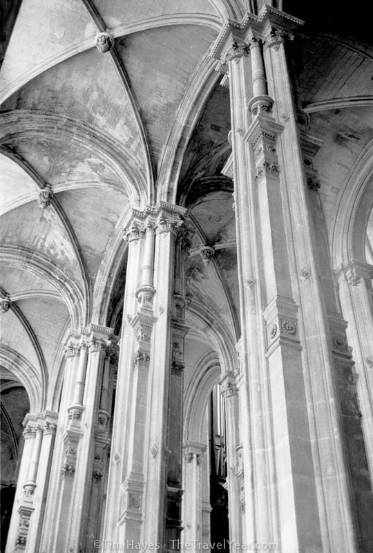 The vaulted ceiling of Paris' Saint Eustache Cathedral, constructed between 1532 and 1640. The cathedral is the final resting place of Molière, Richelieu, and the Marquise de Pompadour.