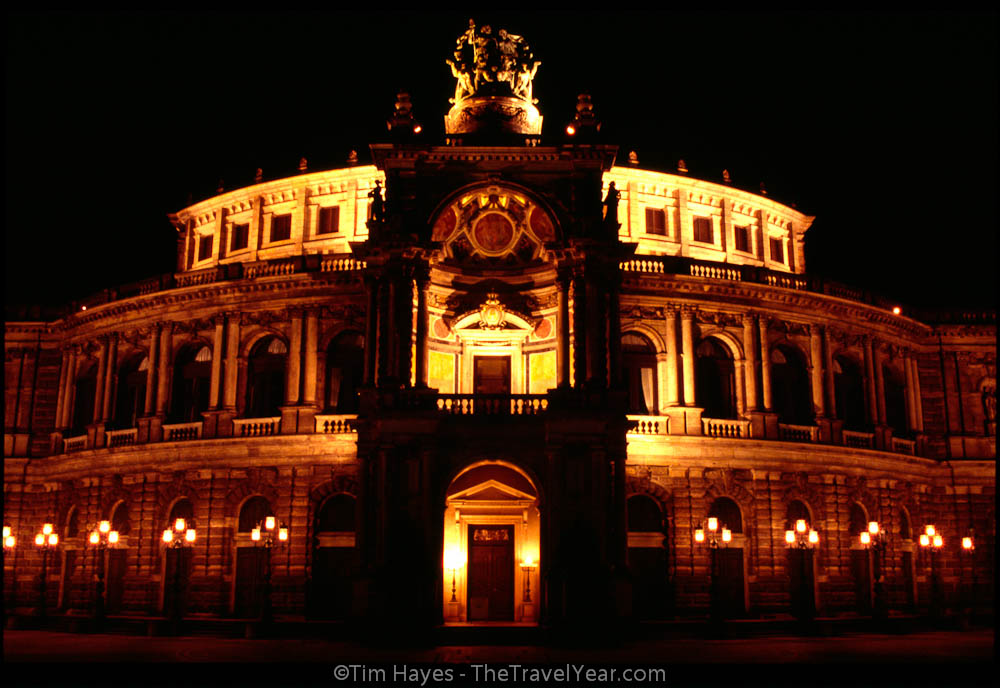 The Semperoper, Dresden's neo-Renaissance opera house opened in 1841. It was destroyed during World War II and rebuilt forty years later in 1985.
