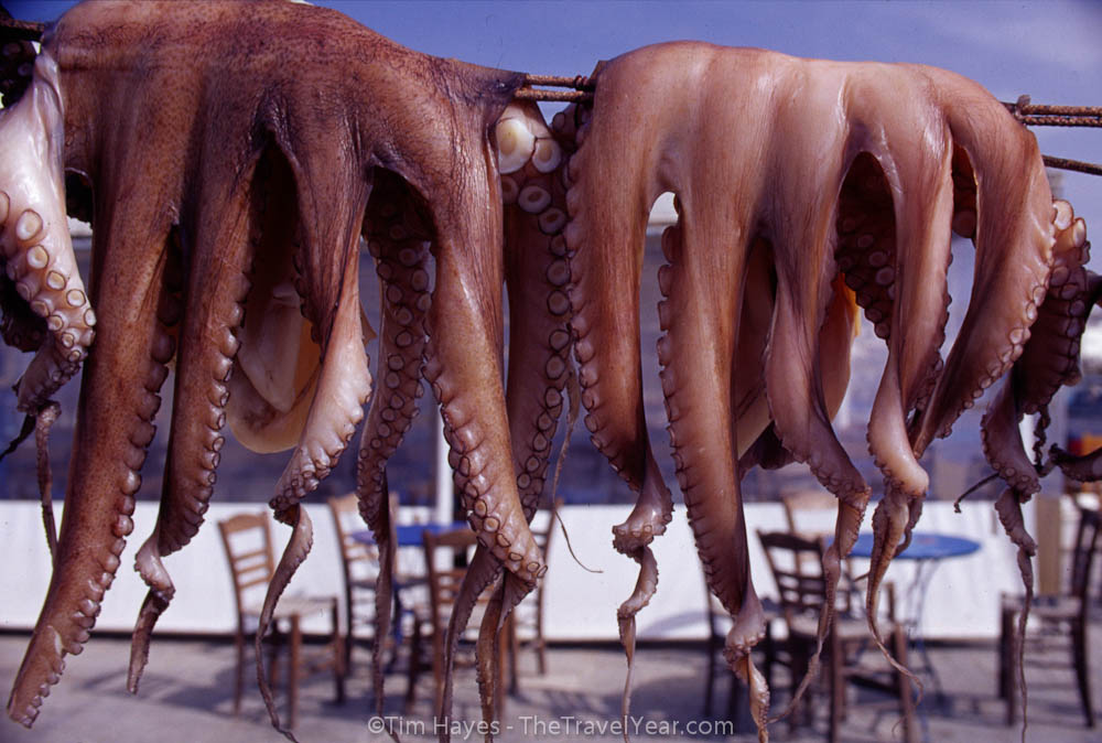 Two octopi dry on a line on the island of Naxos, Greek Cyclades.