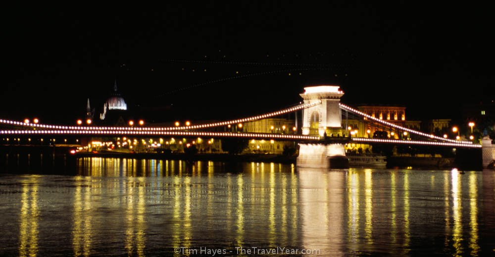 Nighttime in Budapest with the Chain Bridge crossing the Danube River.