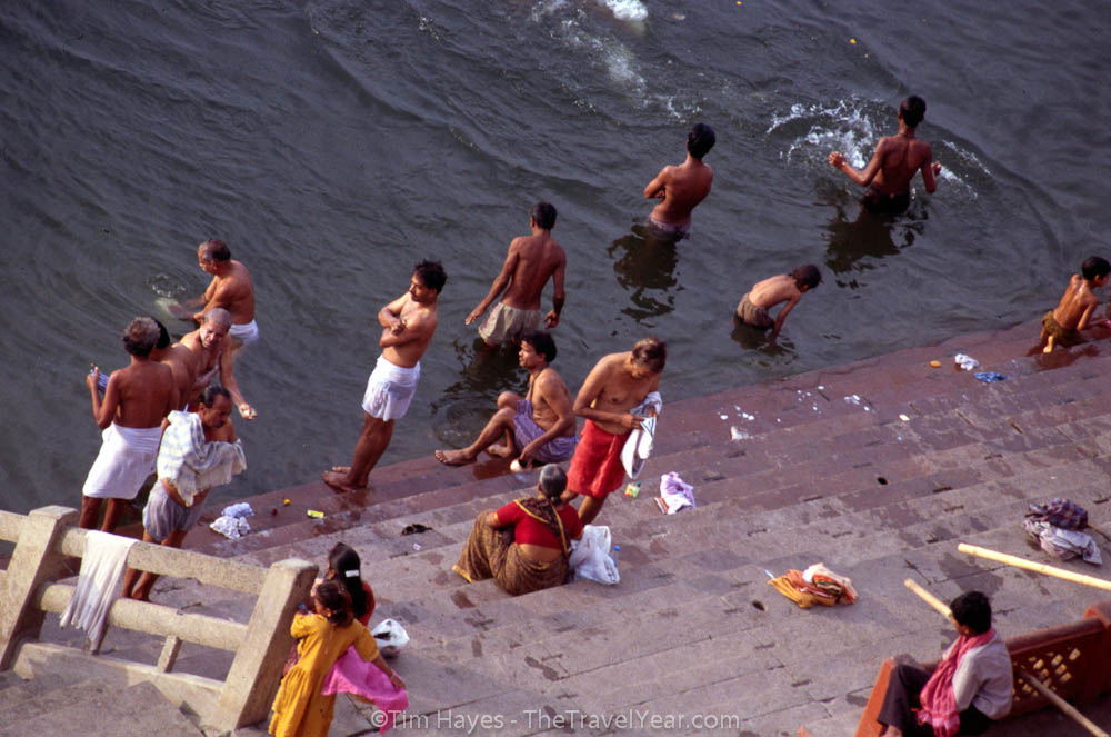 People ritually cleanse themselves and drink from the Ganges River - one of the most sacred places in India.XXXXAccording to Cleanganga.com, the local fecal coliform count (of which E. coli is a member) is almost 400 times the US Environmental Protection Agenc'Ys limit for safe bathing.