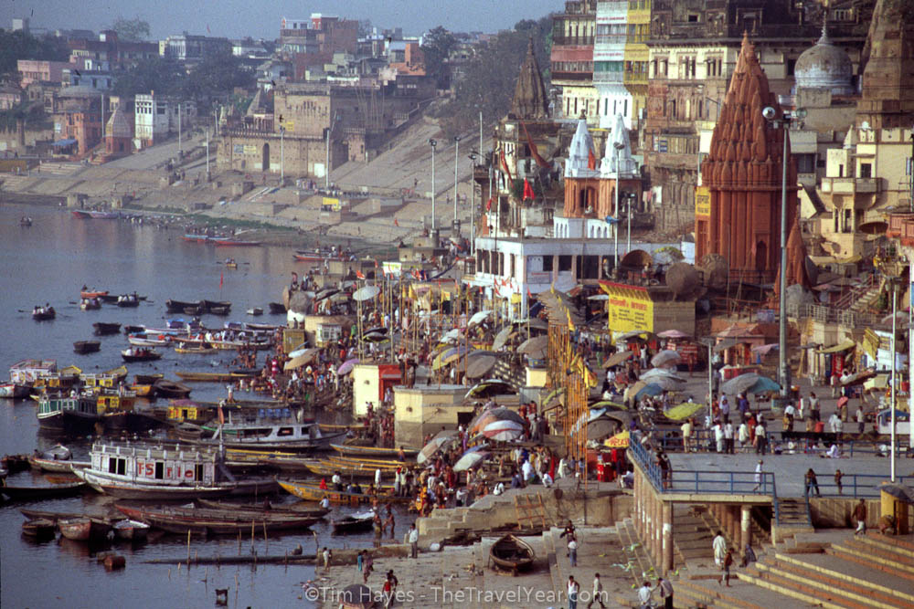Festival goers are kicking off an all-night celebration on the ghats of the holy Ganges River in Varanasi. These crowds of people burned incense, rang bells, played music, and chanted until the sun came up the next morning.