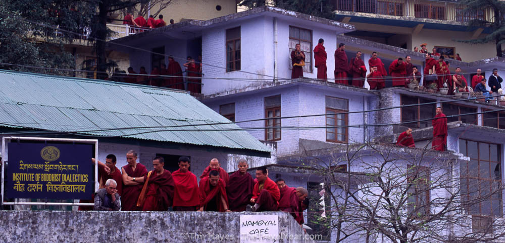 Monks take a break from the Dalai Lama's annual Losar teachings at His Holiness' temple in northern India.