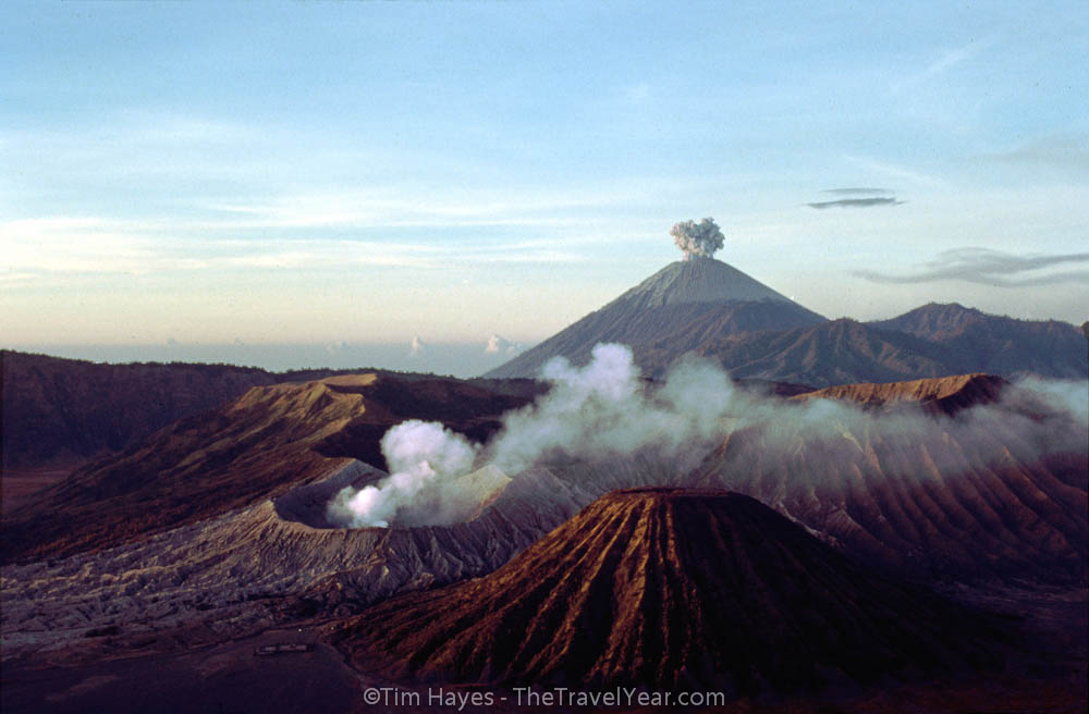 The smoking crater of the Mount Bromo volcano of East Java (2,392 meters), Indonesia.