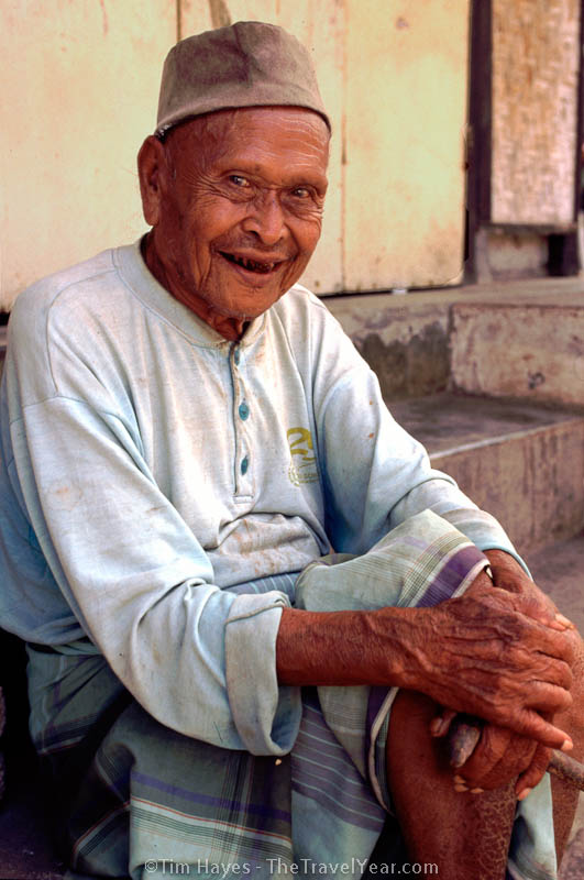 This cheerful old man smiled and nodded to us each time we passed by him on the street in Ubud, Bali.