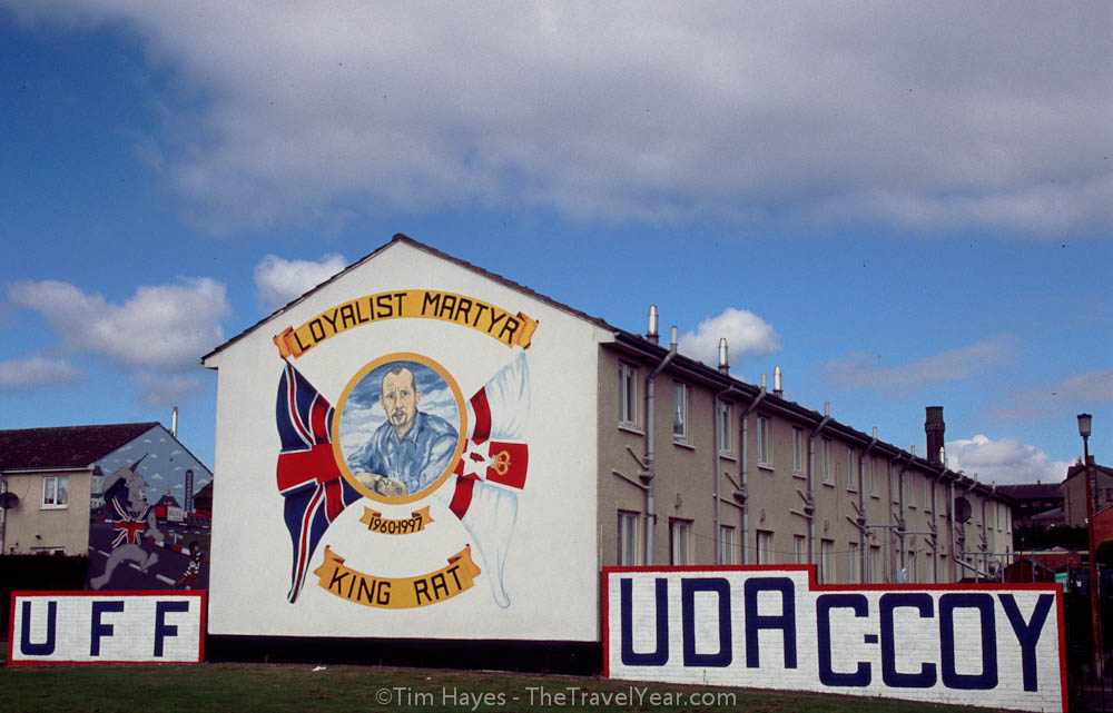 Mural in Protestant Shankill Road area of Belfast honoring the Loyalist martyr ''King Rat.''XXXXInscription reads, ''UFF / UDA / C-COY / Loyalist Martyr King Rat''