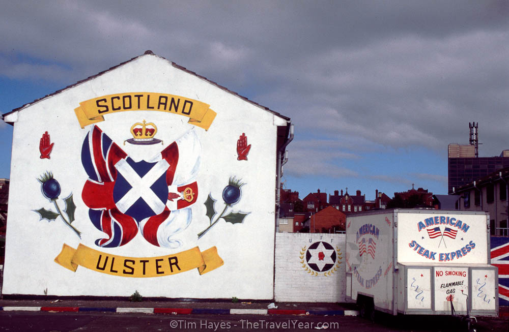 Mural in Protestant Shankill Road area of Belfast.XXXXInscription reads, ''Scotland / Ulster''