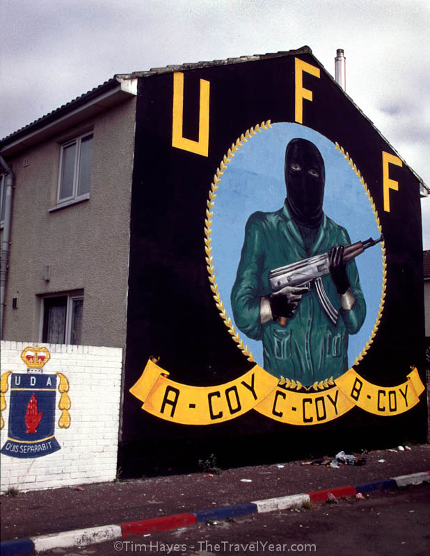 Mural in Protestant Shankill Road area of Belfast honoring the Ulster Freedom Fighters (UFF).XXXXInscription reads, ''UFF / A-COY / C-COY / B-COY''
