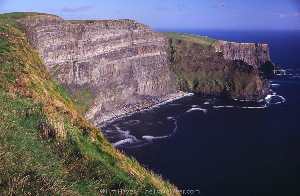 The rugged shale and sandstone Cliffs of Moher, rising 660 feet above the Atlantic on Irelands west coast.