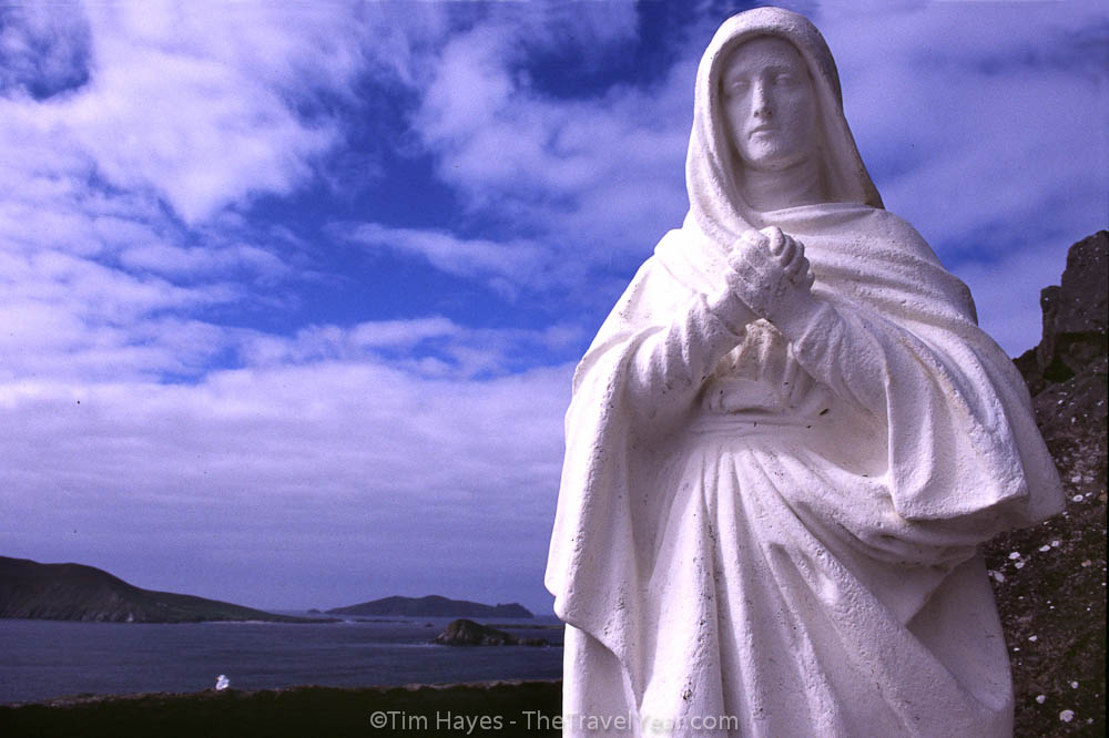 A statue of the Virgin Mary overlooks the Atlantic in Ireland's beautiful Dingle peninsula.