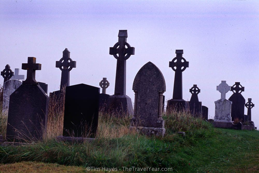 Celtic crosses stand on a hill near the small town of Inveran, west of Galway, on the west coast of Ireland.