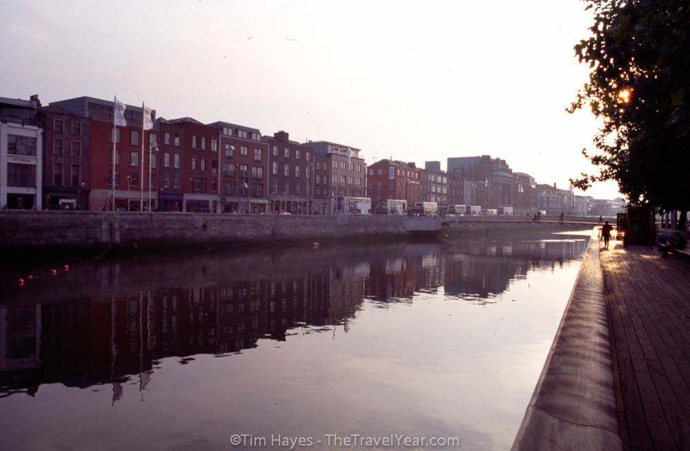 Dublin's famous River Liffey during sunset.
