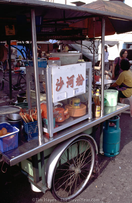 Asian street vendors such as this one in Penang, Malaysia, sell an amazing variety of cheap but excellent food.