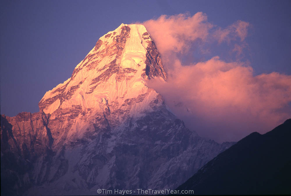The first rays of morning hit a peak near Everest.