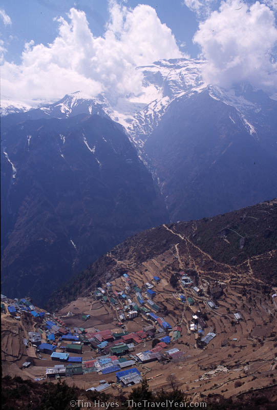 A view of Namche Bazaar from above. Seemingly small, this town offers plenty for trekkers to dream about while they hike farther up the mountain - a return to a pizza baked in a real pizza oven and a hot shower.