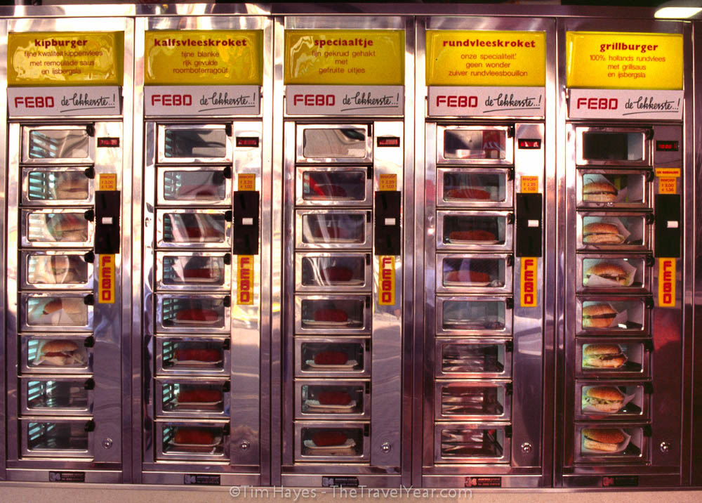 A vending machine restaurant in Amsterdam, selling food behind glass windows like the nearby red light district sells women.
