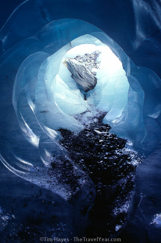 Looking out of an ice cave formed in the Franz Josef Glacier on the south island of New Zealand.