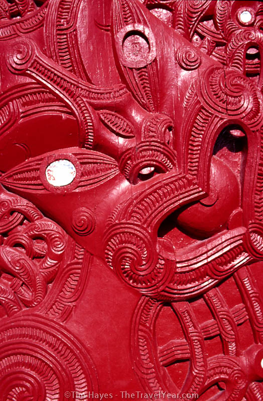 A carving on a Maori meeting house, part of the indigenous culture of New Zealand.