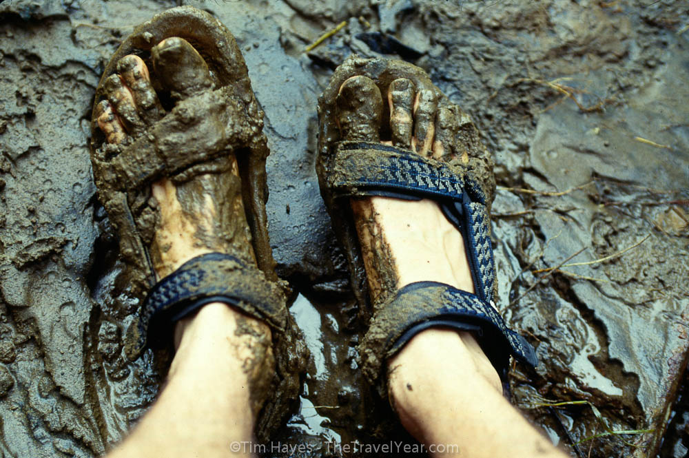 My trusty mud-splattered Tevas after a hike through the rainforest during rainy season. XXXXI wore these Tevas almost everyday for 16 months while walking all over the world. Now back home, I still wear the same pair every chance I get.