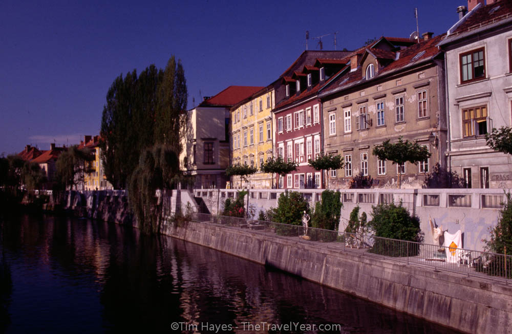 The historic buildings along the Ljubljanica River.