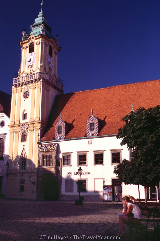 The old town hall (1421) in central Bratislava stands next to the pedestrian-only square Hlavné Nám.
