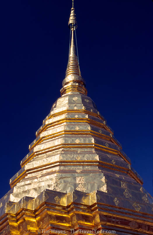 The stupa is the centerpiece of the Doi Suthep temple, which was established in 1383 and overlooks the city of Chiang Mai from an altitude of over 1600m.