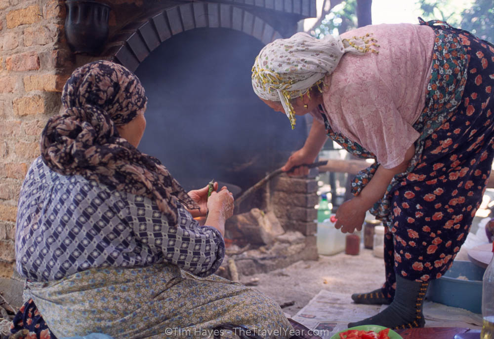 Two Turkish women cook a stuffed pancake-like dish in a wood stove. My feta and spinach order was very similar to a quesadilla or papusa.