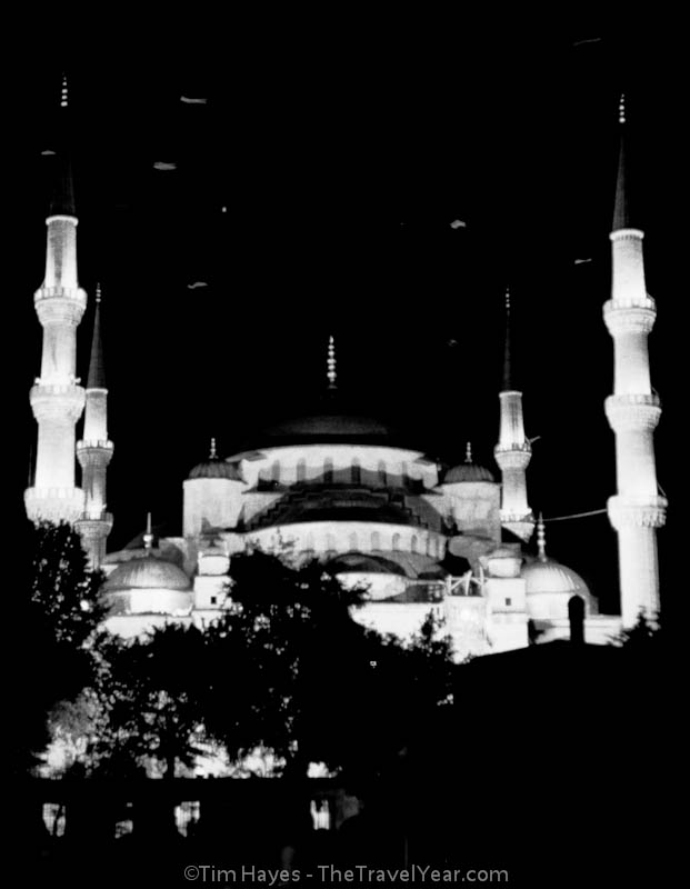 The lights of Istanbul's famous Blue Mosque (1616) attract many birds that circle overhead at night.