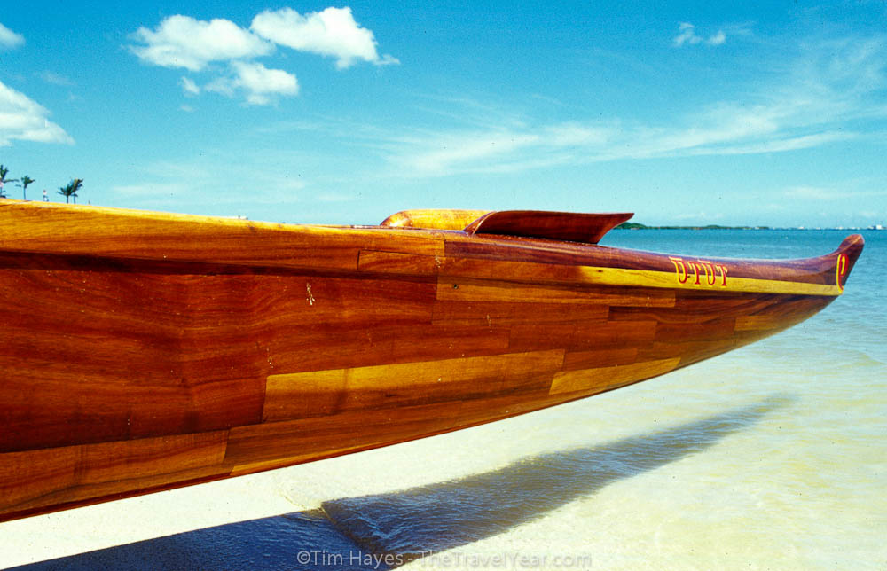 The bow of an outrigger canoe, Oahu, Hawaii.