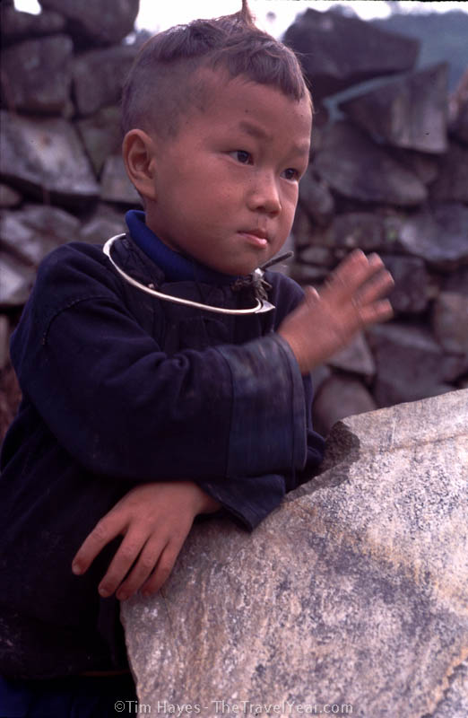 A hilltribe boy from the Black H'mong ethnic minority in northern Vietnam, near the Chinese border.